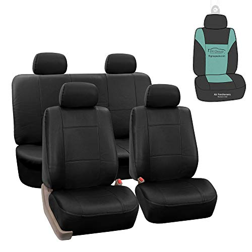 FH Group PU002114 Premium PU Leather Seat Covers (Black) Full Set with Gift - Universal Fit for Cars Trucks and SUVs