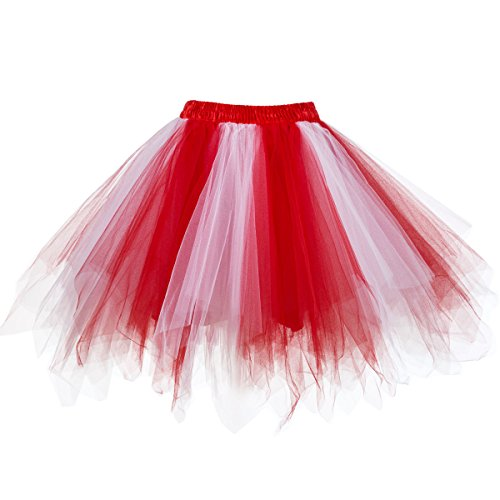 Ellames Women's Vintage 1950s Tutu Petticoat Ballet Bubble Dance Skirt Red-White S/M