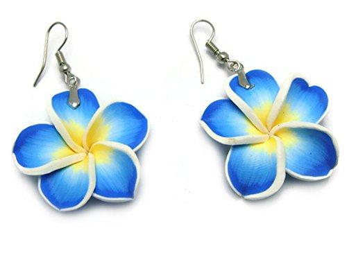 CHADADA Hawaiian Fimo Plumeria Flower Dangle Earrings Handmade for Women (Blue) (Blue Ivy Halloween)