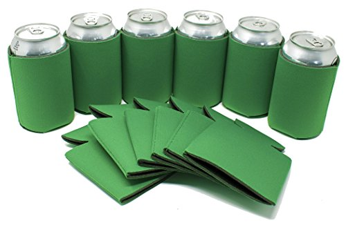 TahoeBay 12 Can Sleeves - Kelly Green Beer Coolies for Cans and Bottles - Bulk Blank Drink Coolers – DIY Custom Wedding Favor, Funny Party Gift (Kelly Green, -