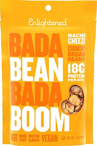 Bada Bean Bada Boom Plant-based Protein, Gluten Free, Vegan, Non-GMO, Soy Free, Kosher, Roasted Broad Fava Bean Snacks, Nacho Cheeze, 3 Ounce (6 Count)