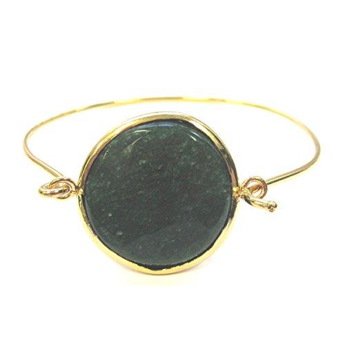 Dark green jade embeded pendant bangle bracelet 18k yellow gold plated