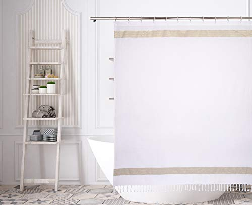 (Home Maison Pythia Horizontal Stripe W/Tassel Mildew Resistant Fabric Shower Curtain Liner For Bathroom Waterproof | Water Repellent & Antibacterial - Assorted Colors, 72 X 72 Inch, White-Linen-Gold)