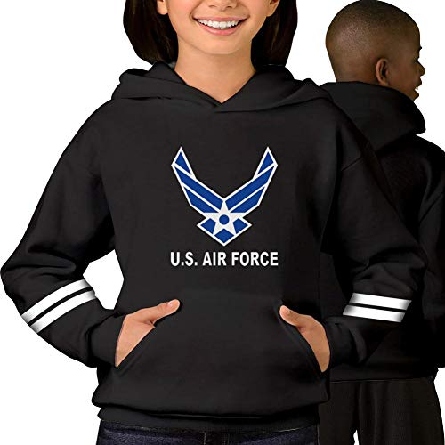 - US Air Force Wings Logo Youth Hoodies Sweatshirt Unisex Sweater Pullover for Boys and Girls
