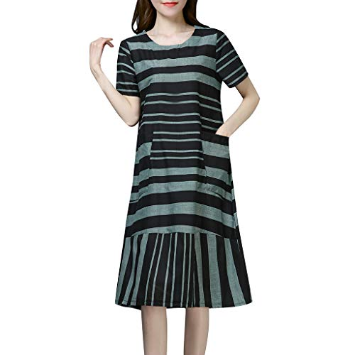 (Vintage Casual Cute Dress Women Summer Striped Short Sleeve Knee Length Dress Green)