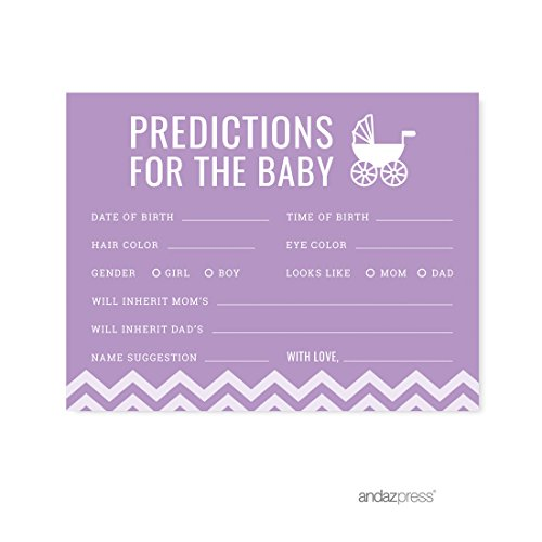 (Andaz Press Lavender Chevron Girl Baby Shower Collection, Games, Activities, Decorations, Predictions for Baby Cards, 20-Pack)