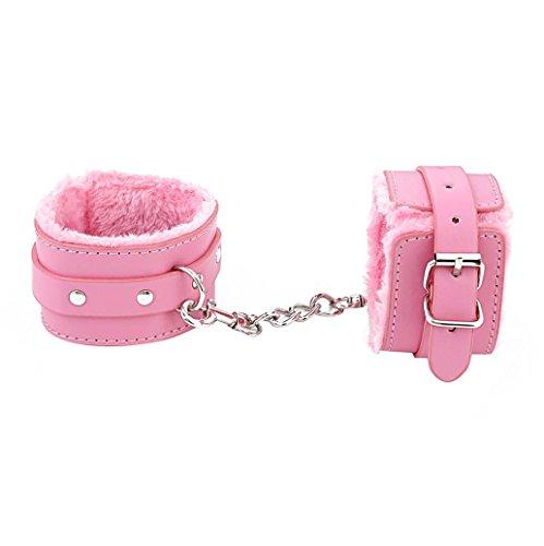 Vanvler Adjustable Plush PU Leather Slave Wrist & Ankle Bdsm Handcuffs Restraints SM Toy (Pink)