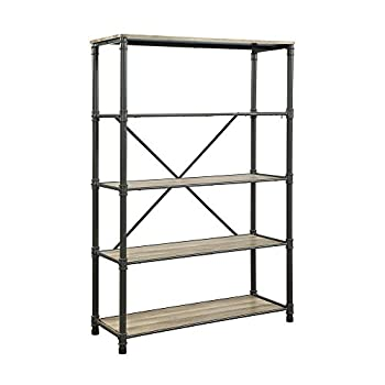 Major-Q Industrial Style Book Shelf for Living Room, Bedroom, Rectangular, Wood Rustic and Oak Finish, 49 x 20 x 71