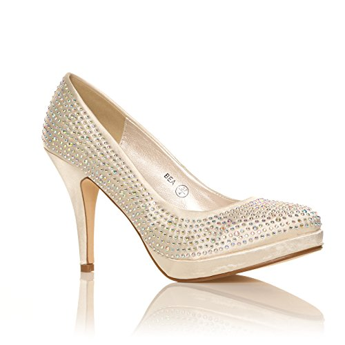 WOMENS LADIES DIAMANTE HIGH HEELS BRIDAL PROM EVENING PARTY SHOES SIZE 3-8 Ivory Satin