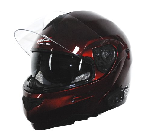 Candy Helmet Red Modular - Vega Summit 3.0 Full Face Helmet with V-Com Modular (Candy Red, Large)