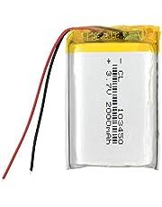 RitzyRose Lithium-ion-accu, 3,7 V, 2000 mAh, oplaadbare polymeer-batterij voor bluetooth-luidspreker, walkie-talkie pos, GPS 1034502000 mAh, 1 stuk
