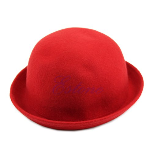 Lamdoo Vintage Vogue Ladies Women Men Unisex Vintage Wool Bowler Derby Hat Cap—Red Black Friday