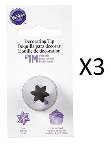 (Wilton #2110 (1M) Open Star Decorating Tip for large Coupler - Pack of 3 Tips )