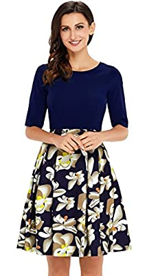 UniSweet Womens Vintage Patchwork Puffy Swing Wear to Work Casual Party Dress