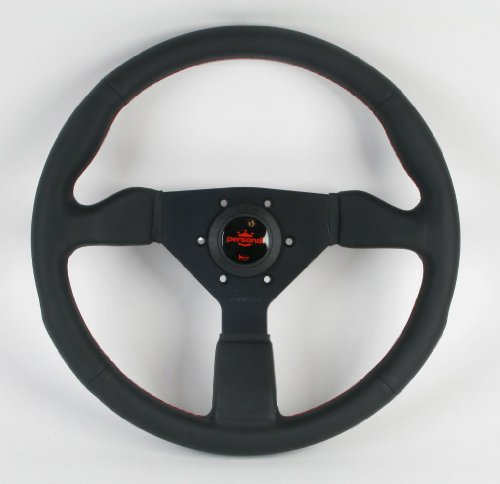 Personal Steering Wheel - Personal Steering Wheel - Neo Grinta - 350mm (13.78 inches) - Black Leather with Black Spokes and Red Logo - Part # 6497.35.2090