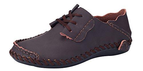 MOHEM Herren Talos Comfort Driving Car Schuhe weiche Leder Wohnungen Loafers Casual Wanderschuhe D.braun