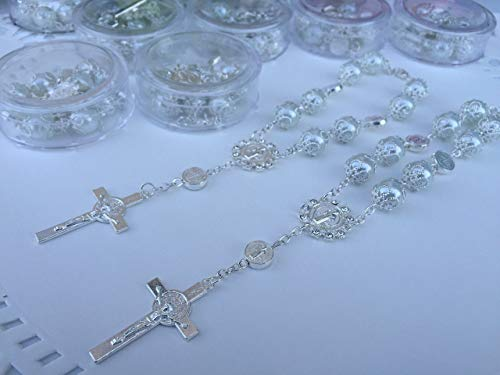 24 Baptism Favors White Silver Plated in small acrylic boxes/Recuerdos De Bautizo/Rear View Mirror Charms/Bracelets/christening Favors/Wedding favors/Mini Rosary