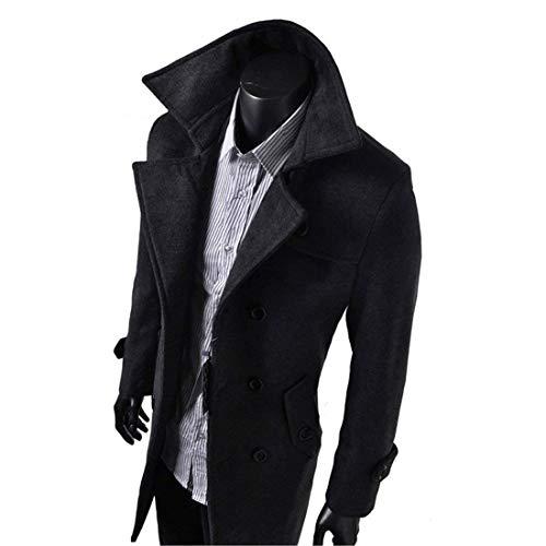 Fit Trench Jacket Coat with Coat Men's Business Breasted Sleeve Double Long Apparel Long Collar Buckle Winter Schwarz Vintage Huixin Slim Stand Coat Dark Coat U1PTwqRRA