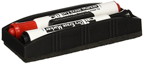 Charles Leonard Magnetic Whiteboard Eraser with 2 Dry Erase Markers, 1 Pack (74532) ()