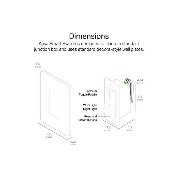 Kasa Smart HS200 Light Switch by TP-Link, Single Pole, Needs Neutral Wire, 2.4Ghz Wi-Fi Light Switch Works with Alexa… 3