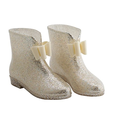Bow Ankle Boot (OMGard Women's Ankle Rubber Rain Boots Low Heel Jelly Bow Rainboots Waterproof Color Gold Size 8.5)