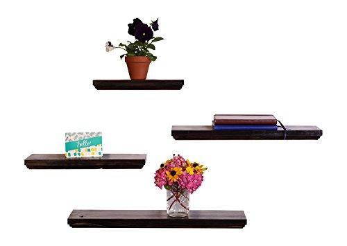 DAKODA LOVE Routed Edge Floating Shelves, USA Handmade, Clear Coat Finish, 100% Countersunk Hidden Floating Shelf Brackets, Beautiful Grain Pine Wood Wall Decor (Set of 4) (Midnight) by DAKODA LOVE