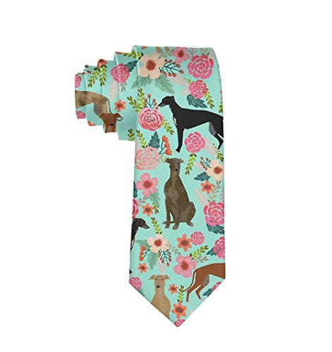 Men Boy Fashion Tie Greyhound Floral Cute Dog Mint Vintage Formal For Party Business College Wedding, Durable Polyester, Slim Ties