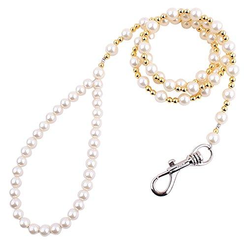 (PanDaDa White&gold Pearls Pet Lead Leash Beaded Dog Cat Adornment Leash For Small Medium Dogs)