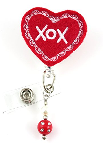 Valentine XOX Red - Nurse Badge Reel - Retractable ID Badge Holder - Nurse Badge - Badge Clip - Badge Reels - Pediatric - RN - Name Badge Holder