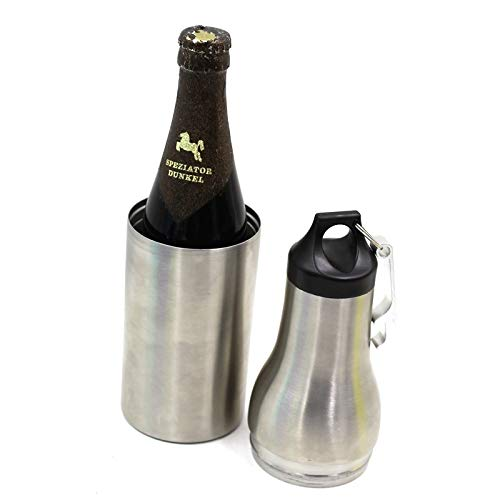 Keg Beer Insulator - Mind[full] Beer Bottle Insulated (Reusable) Stainless-Steel, Double-Wall Insulation | 12 oz. Drink Holder Retains Ice Cold Drink Temps | Outdoor, Camping, Fishing, BBQ (Silver, Stainless Steel)