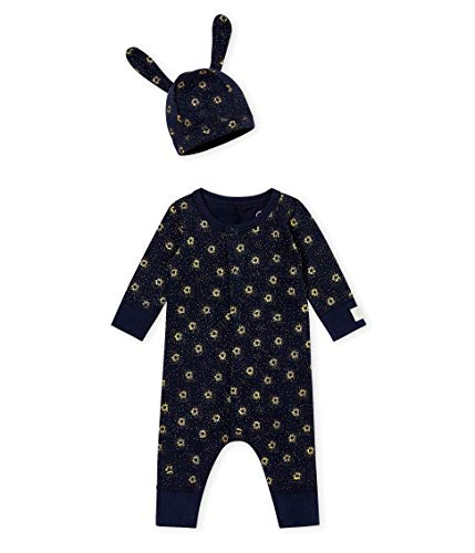 Petit Bateau 2 Pc Set, Navy and Metallic Sparked Print Romper with Hat (6 Month)