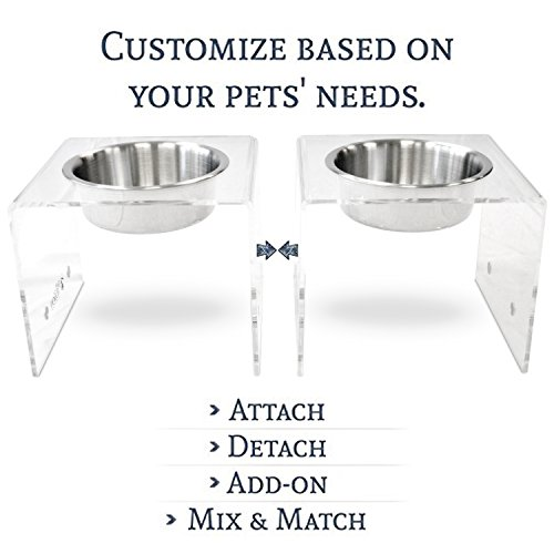 PetFusion Elevated SinglePod Magnetic Dog Feeder [Acrylic w/Embedded Magnets; Attach, Detach]. (Tall, Set of 2), 11 x 11 x 9 Each