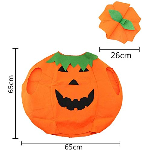 VGoodall Kinder Kürbis Kostüm, Kürbis Umhang mit Hut Mütze für Purkin Halloween Cosplay Party Kleidung Körpergröße 60-70cm