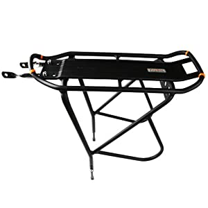 """Ibera Bike Rack – Bicycle Touring Carrier with Fender Board, Frame-Mounted for Heavier Top & Side Loads, Height Adjustable for 26""""-29"""" Frames"""
