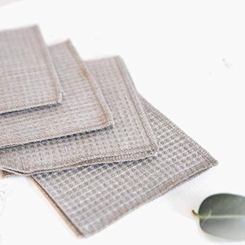 Waffle Weave Cleaning Cloths Dusters - Pure 100% Linen - 4-Pack 10.6inch x 10.6inch Gray Organic Flax Small Towel Washcloth