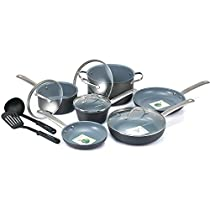 Best Cookware Set Premium 12 Piece Nonstick Ceramic, Hard-Anodized Aluminum, PFAS and PFOA Free, Dishwasher Safe, Gray Interior Color