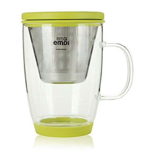 Emoi 16oz Teapot, Pyrex Glass Brewing Tea Cup, Tea Infuser Mug, Loose Leaf Flower Tea Maker w/ Strainer, Food Grade Silicone Lid&Base, Heat Resistant, Noise Free, Safe&Healthy, Easy to Clean.(H1117G)