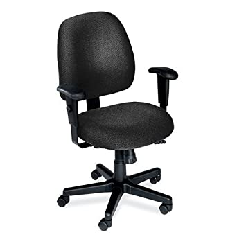 MidBack Ergonomic Computer Chair Charcoal Fabric Black Frame