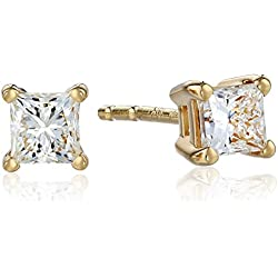 18k Yellow Gold Princess Diamond Stud Earrings (1/2 cttw, H-I Color, SI1-SI2 Clarity)