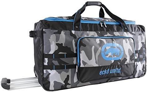 Ecko Unltd. Men s United 32 Large Rolling Duffel Bag, Grey Camo Blue, One Size