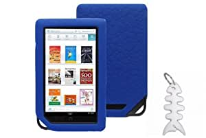 Barnes & Noble NOOK COLOR eBook Reader Tablet Silicone Skin Case Gel Cover- Blue + Fishbond keychain