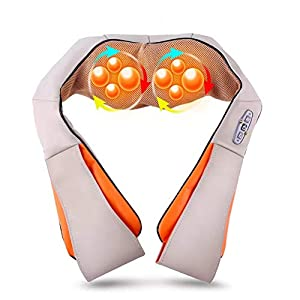 Shiatsu Back Neck and Shoulder Massager with Heat - Deep Tissue 3D Kneading Pillow Massager for Neck, Back, Shoulders, Foot, Legs - Electric Full Body Massage, Beige