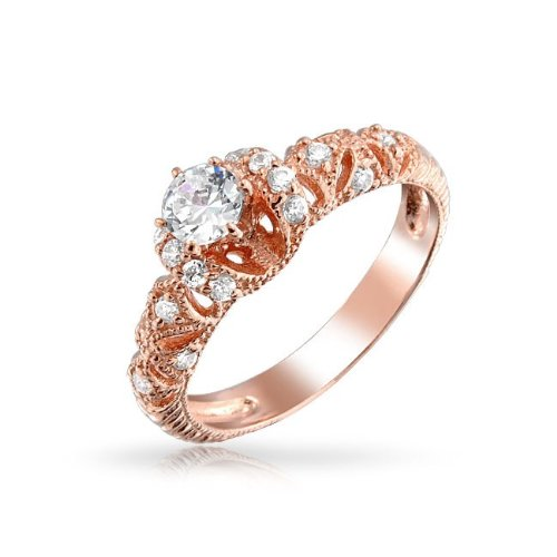 Rose Gold Plated .925 Silver Filigree Art Deco Style CZ Engagement (Art Deco Style Engagement Ring)