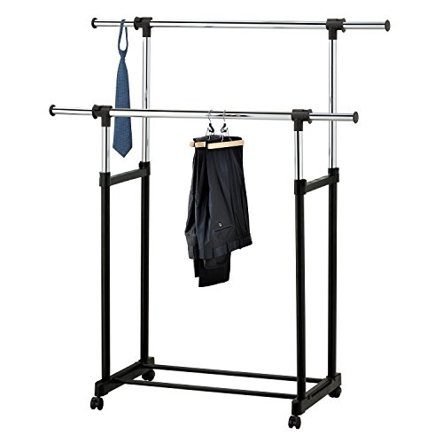 Modern Chrome Plated Garment Rack with Adjustable Telescopic Double Rail/Rolling Clothes Hanger, Black