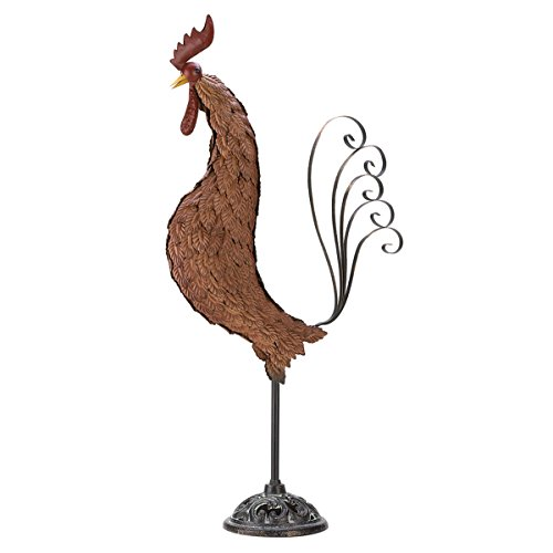 Designed your outdoor home garden Country style with the Metal Sculpture Rooster price tips cheap