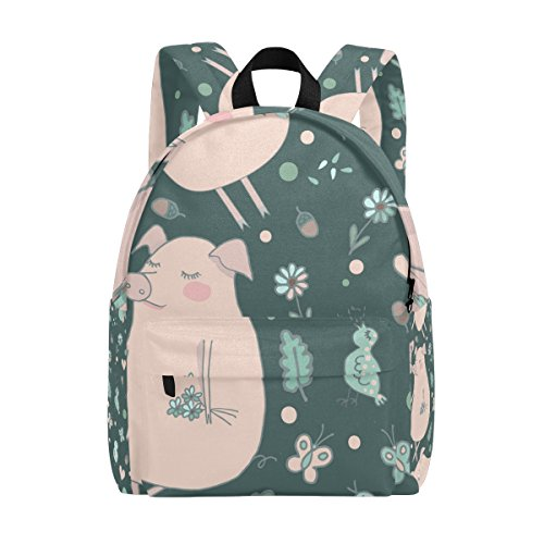 Floral Pig (MAPOLO Lovers Pigs Butterflies Floral Lightweight Travel School Backpack for Women Girls Teens Kids)