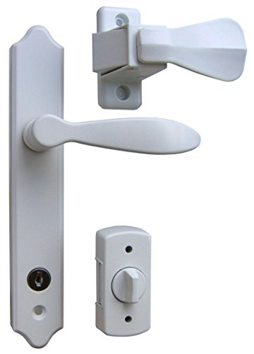 Ideal Security SK1215W Deluxe Storm Door Handle Set with Deadbolt, White