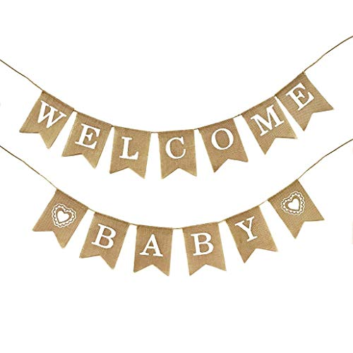 (Dadam Welcome Baby Burlap Banner Flags Vintage Baby Shower Banner Rustic Baby Shower Decorations Banners and)