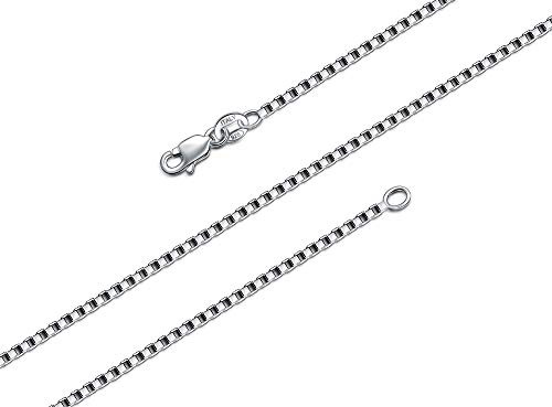 BORUO 925 Sterling Silver Box Chain Necklace, 1.5mm Solid Italian Nickel-Free Lobster Claw Clasp 30 - Sterling Italian Free Box Silver