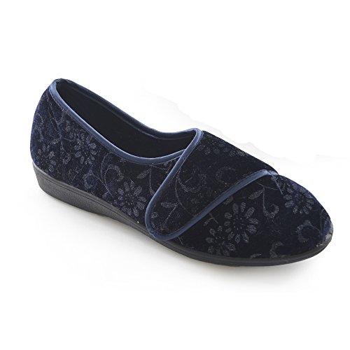 Zapatillas de estar por casa con cierre de velcro para mujer Azul marino